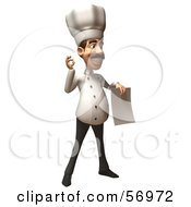 Royalty Free RF Clipart Illustration Of A 3d Chef Henry Character Holding A Blank Contract Version 2