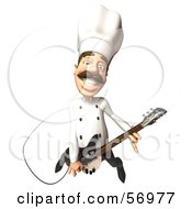 Royalty Free RF Clipart Illustration Of A 3d Chef Henry Character Playing An Electric Guitar Version 4 by Julos