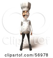 Royalty Free RF Clipart Illustration Of A 3d Chef Henry Character Standing And Facing Front by Julos
