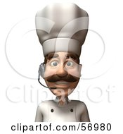 Royalty Free RF Clipart Illustration Of A 3d Chef Henry Character Wearing A Headset Version 1 by Julos