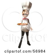Royalty Free RF Clipart Illustration Of A 3d Chef Henry Character Serving A Pizza Pie Version 1 by Julos