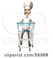 Royalty Free RF Clipart Illustration Of A 3d Chef Henry Character Pushing A Shopping Cart Version 3