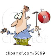 Man With A Watch Preparing To Ring A Bell Clipart Illustration