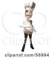 Royalty Free RF Clipart Illustration Of A 3d Chef Henry Character Holding A Plate Version 1