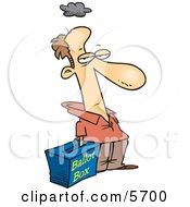 Grumpy Voter With His Hand In A Ballot Box Stuffing The Ballot Box Clipart Illustration by Ron Leishman