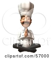 Royalty Free RF Clipart Illustration Of A 3d Chef Henry Character Meditating Version 3