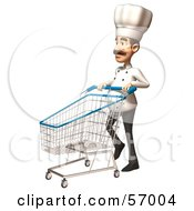 Royalty Free RF Clipart Illustration Of A 3d Chef Henry Character Pushing A Shopping Cart Version 4