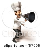 Royalty Free RF Clipart Illustration Of A 3d Chef Henry Character Using A Megaphone Version 4
