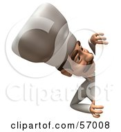 Royalty Free RF Clipart Illustration Of A 3d Chef Henry Character Looking Around A Blank Sign Version 2 by Julos