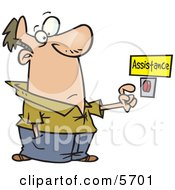 Man About To Push A Customer Service Button Under An Assistance Sign Clipart Illustration by toonaday