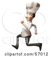 Royalty Free RF Clipart Illustration Of A 3d Chef Henry Character Running Version 1 by Julos