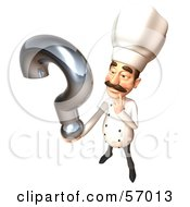 Royalty Free RF Clipart Illustration Of A 3d Chef Henry Character Holding A Question Mark Version 4 by Julos