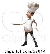 Royalty Free RF Clipart Illustration Of A 3d Chef Henry Character Holding A Plate Version 2 by Julos