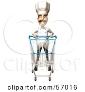 Royalty Free RF Clipart Illustration Of A 3d Chef Henry Character Pushing A Shopping Cart Version 6 by Julos