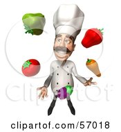 Royalty Free RF Clipart Illustration Of A 3d Chef Henry Character Juggling Veggies Version 3 by Julos