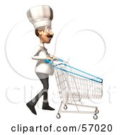 Royalty Free RF Clipart Illustration Of A 3d Chef Henry Character Pushing A Shopping Cart Version 5 by Julos