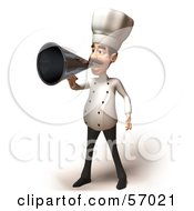 Royalty Free RF Clipart Illustration Of A 3d Chef Henry Character Using A Megaphone Version 5 by Julos