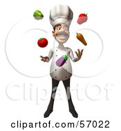 Royalty Free RF Clipart Illustration Of A 3d Chef Henry Character Juggling Veggies Version 1 by Julos