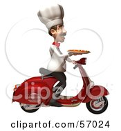Royalty Free RF Clipart Illustration Of A 3d Chef Henry Character Delivering Pizza On A Scooter Version 2