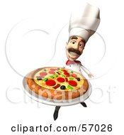 Royalty Free RF Clipart Illustration Of A 3d Chef Henry Character Serving A Pizza Pie Version 4 by Julos