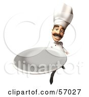 Royalty Free RF Clipart Illustration Of A 3d Chef Henry Character Holding A Plate Version 4 by Julos