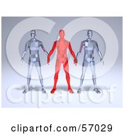 Royalty Free RF Clipart Illustration Of A Group Of Red And Clear 3d Crystal Men Characters Version 1 by Julos