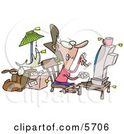 Female Online Auction Addict Sitting In Front Of A Computer All Items Around Her With Price Tags Clipart Illustration
