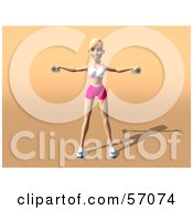 Royalty Free RF Clipart Illustration Of A 3d Blond Fitness Woman Character Doing Lateral Raises Version 1