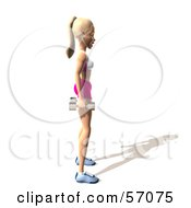 Royalty Free RF Clipart Illustration Of A 3d Blond Fitness Woman Character Standing With Dumbbells At Her Sides Version 3