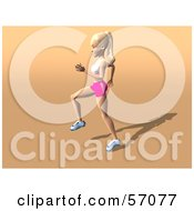 Royalty Free RF Clipart Illustration Of A 3d Blond Fitness Woman Character Skipping Or Running Version 1