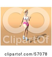 Royalty Free RF Clipart Illustration Of A 3d Blond Fitness Woman Character Skipping Or Running Version 2