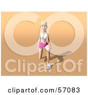 Royalty Free RF Clipart Illustration Of A 3d Blond Fitness Woman Character Doing Walking Lunges With Weights Version 1