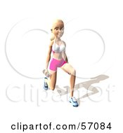 Royalty Free RF Clipart Illustration Of A 3d Blond Fitness Woman Character Doing Walking Lunges With Weights Version 8