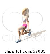 Royalty Free RF Clipart Illustration Of A 3d Blond Fitness Woman Character Doing Walking Lunges With Weights Version 7