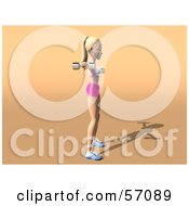 Royalty Free RF Clipart Illustration Of A 3d Blond Fitness Woman Character Doing Lateral Raises Version 2