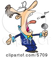 Man In A Blue Suit Singing The Anthem Clipart Illustration by toonaday