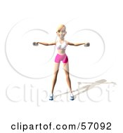 Royalty Free RF Clipart Illustration Of A 3d Blond Fitness Woman Character Doing Lateral Raises Version 3