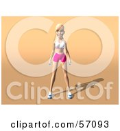 Royalty Free RF Clipart Illustration Of A 3d Blond Fitness Woman Character Standing With Dumbbells At Her Sides Version 2