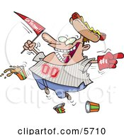Male Baseball Fan With A Hot Dog Hat Flag Hand And Drinks Clipart Illustration by Ron Leishman