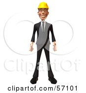 Royalty Free RF Clipart Illustration Of A 3d Contractor Man Character Standing And Facing Front