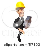3d Contractor Man Character Holding A Chrome House - Version 1