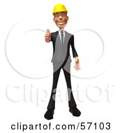 Royalty Free RF Clipart Illustration Of A 3d Contractor Man Character Giving The Thumbs Up Version 1 by Julos