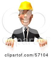 3d Contractor Man Character Standing Behind A Blank Sign