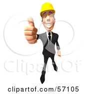 3d Contractor Man Character Giving The Thumbs Up - Version 3