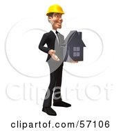 3d Contractor Man Character Holding A Chrome House - Version 2