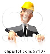 3d Contractor Man Character Pointing Down And Standing Behind A Blank Sign