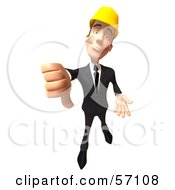 Royalty Free RF Clipart Illustration Of A 3d Contractor Man Character Giving The Thumbs Down Version 1 by Julos