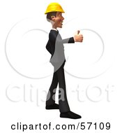 Royalty Free RF Clipart Illustration Of A 3d Contractor Man Character Giving The Thumbs Up Version 2 by Julos