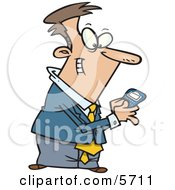 Man Using A BlackBerry Wireless Handheld Device To Send Text Messages Clipart Illustration