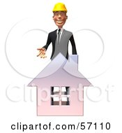 3d Contractor Man Character Standing Behind A Chrome House